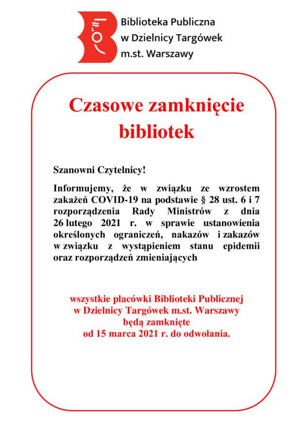 od 15 marca 2021 biblioteka zamknięta do odwołania