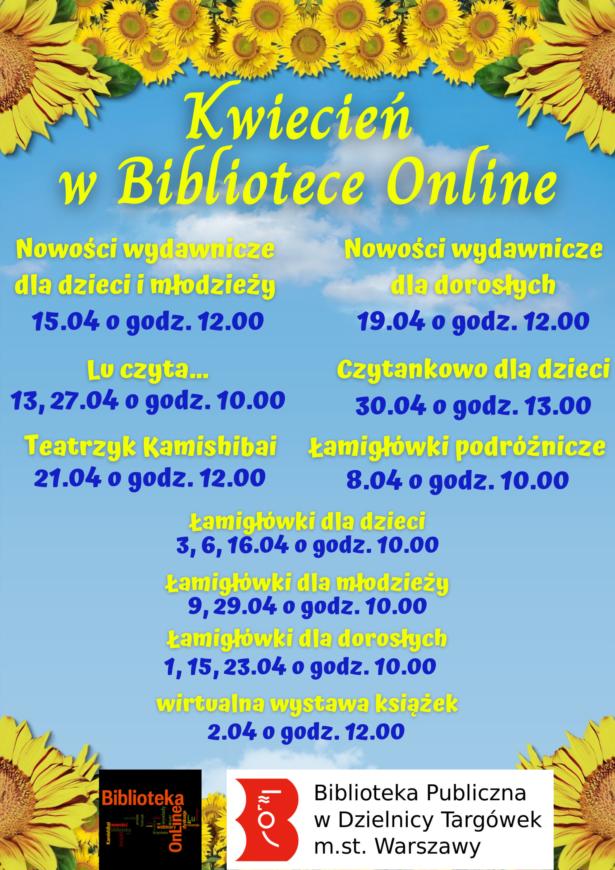 kwietniowe wydarzenia w Bibliotece Online; w tle błękitne niebo; dookoła słoneczniki