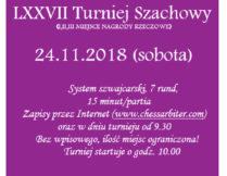 Zaproszenie do udziału w LXXVII w Turnieju Szachowym, który odbędzie się 24 listopada br. o godz. 10.00 w Czytelni Naukowej nr I przy ul. Św. Wincentego 85. Zapisy przez Internet (www. chessarbiter.com)oraz w dniu turnieju od 9.30.