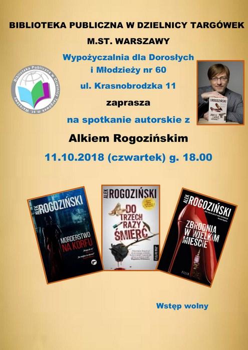 Plakat Spotkanie autorskie z Alkiem Rogozińskim