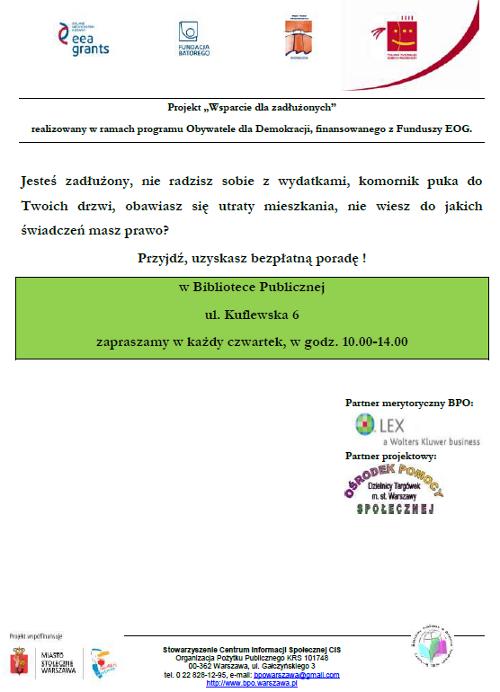 Plakat wsparcie dla zadłużonych