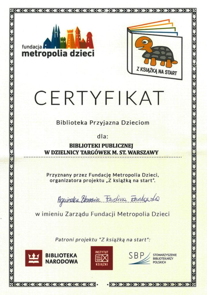 Certyfikat Biblioteka Przyjazna Dzieciom