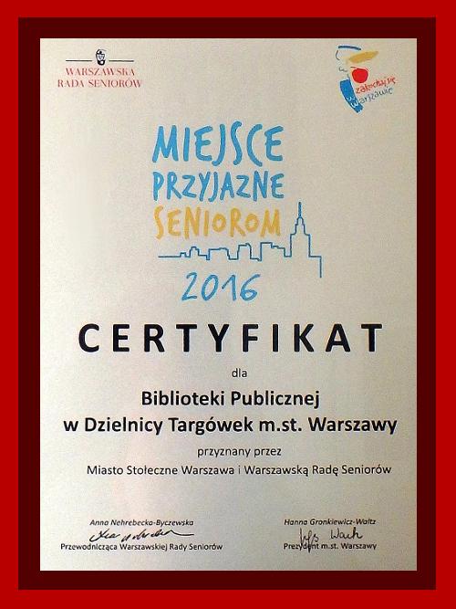 """Grawerton certyfikatu """"Miejsce Przyjazne Seniorom 2016"""""""