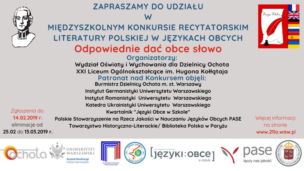 """Międzyszkolny Konkurs Recytatorski Literatury Polskiej w Językach Obcych """"Odpowiednie dać obce słowo"""""""