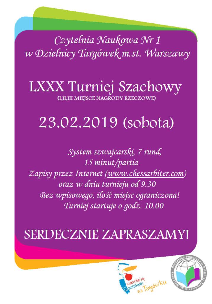 Zaproszenie na turniej szachowy 23 lutego 2019