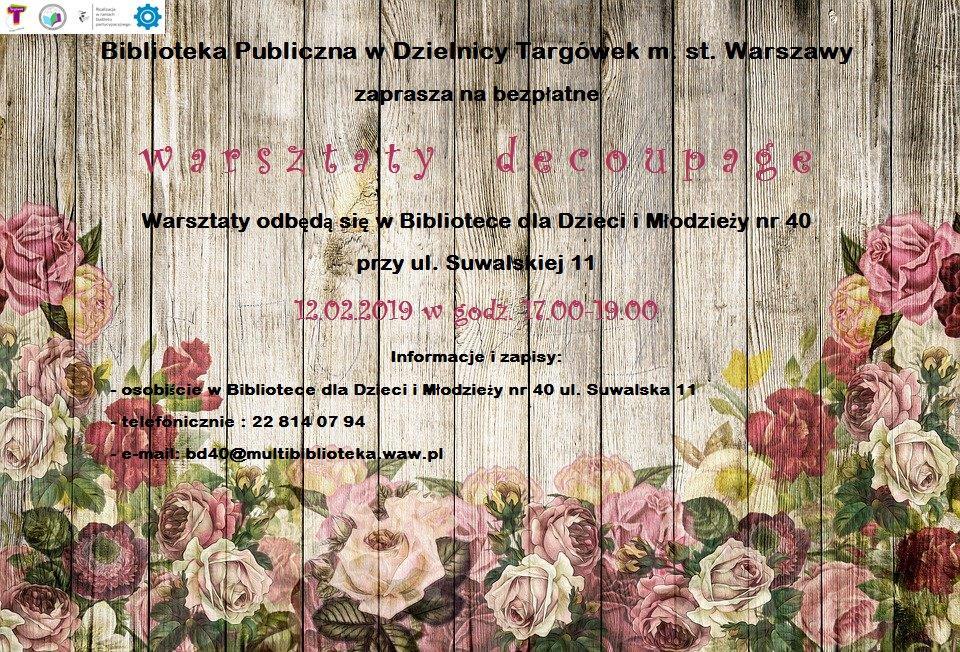 Zaproszenie na zajęcia Decoupage