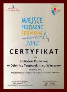Certyfikat - Miejsce Przyjazne Seniorom 2016