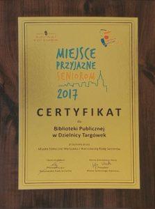 Certyfikat - Miejsce Przyjazne Seniorom 2017