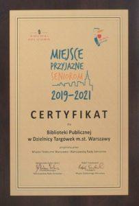 Certyfikat - Miejsce Przyjazne Seniorom 2019-2021