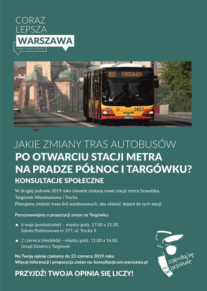 Konsultacje społeczne - Jakie zmiany tras autobusów po otwarciu nowej stacji metra na Pradze Północ i Targówku?
