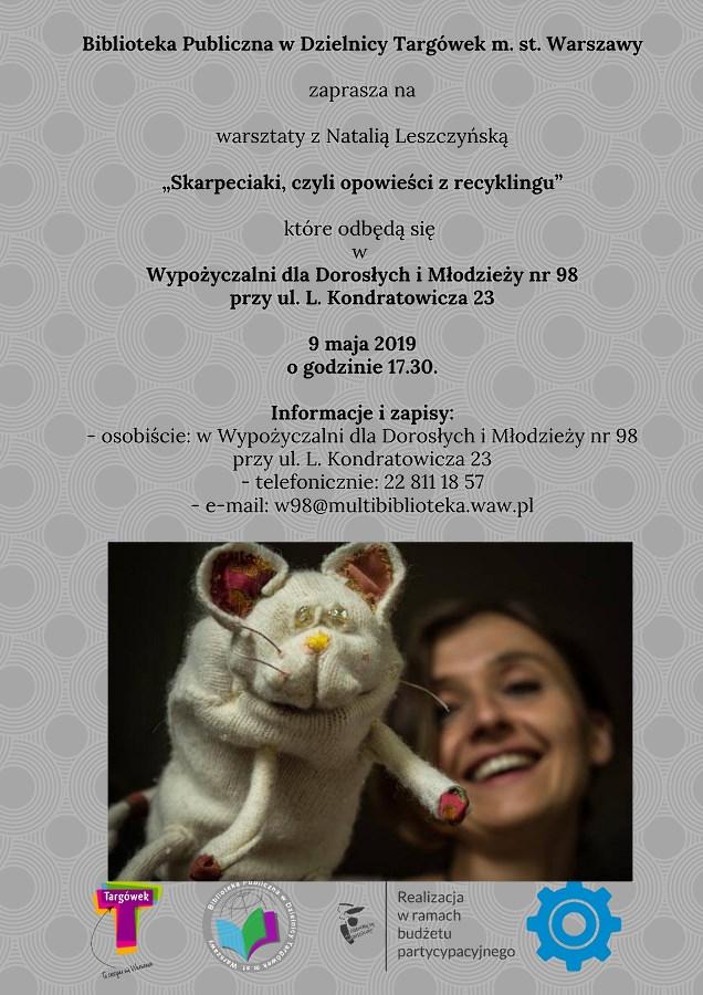 """""""Skarpeciaki, czyli opowieści z recyklingu"""" - warsztaty kreatywne w W98"""