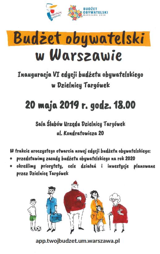 Budżet obywatelski w Warszawie - spotkanie 20 maja 2019 r. w Urzędzie Dzielnicy Targówek
