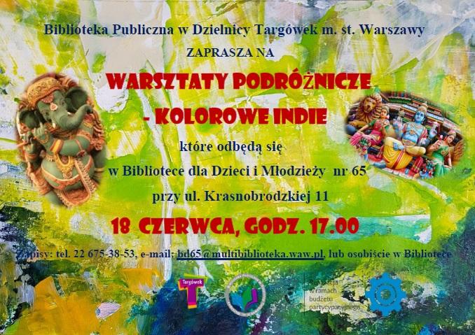 Plakat informacyjny o Warsztatach podróżniczych Kolorowe Indie
