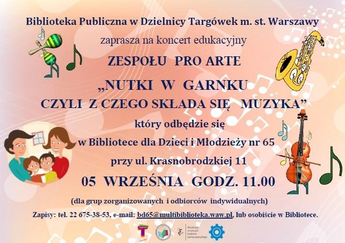 Zaproszenie na koncert Nutki w garnku czyli z czego składa się muzyka