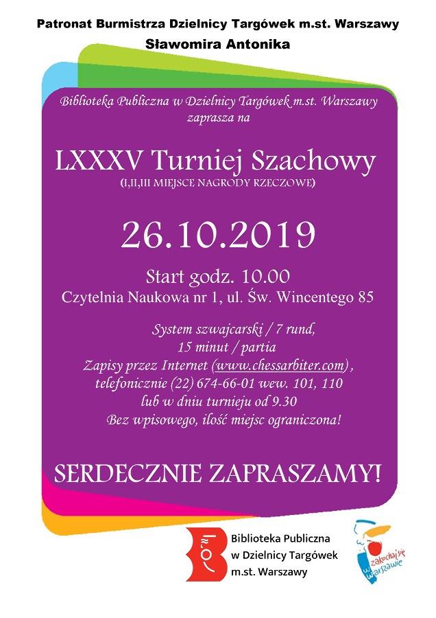 LXXXL Turniej Szachowy w Czytelni