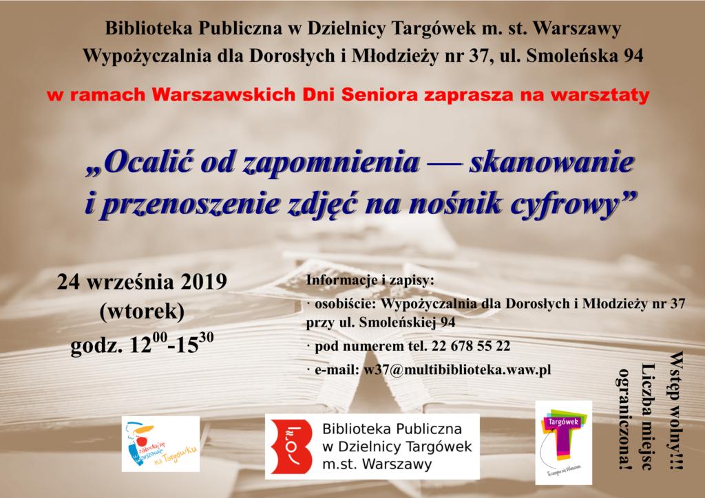 plakat z zaproszeniem na warsztaty pt. ocalić od zapomnienia
