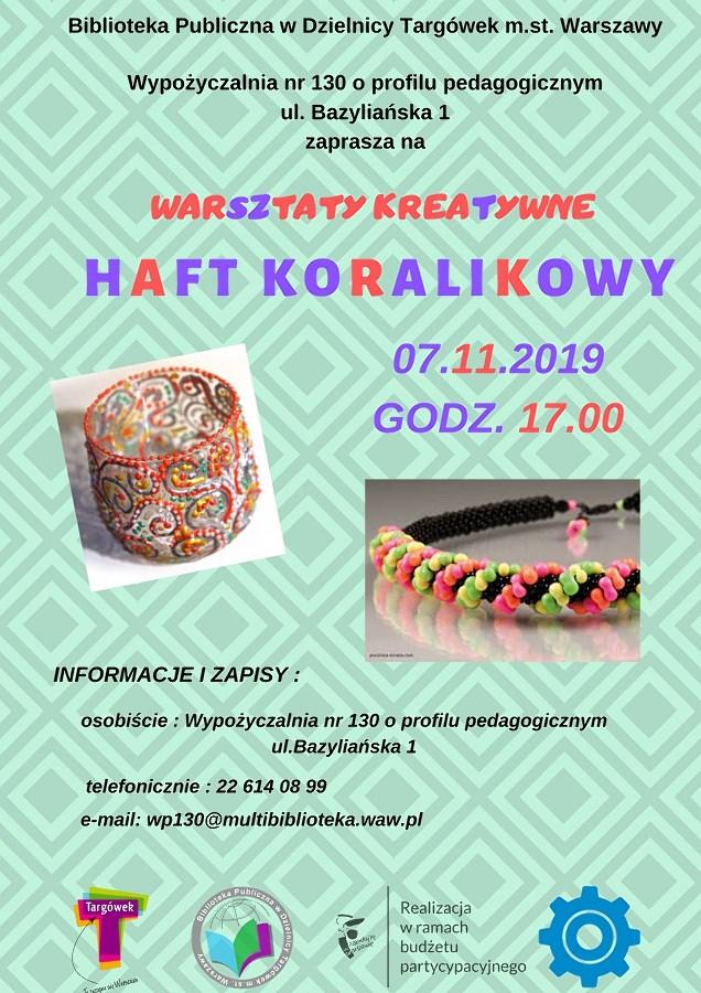 """""""Haft koralikowy"""" – warsztaty kreatywne w WP130"""
