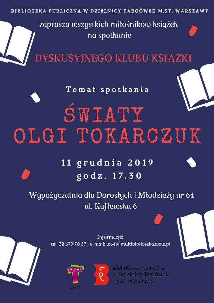 """Zaproszenie na Dyskusyjnego Klubu Książki – """"Światy Olgi Tokarczuk""""."""