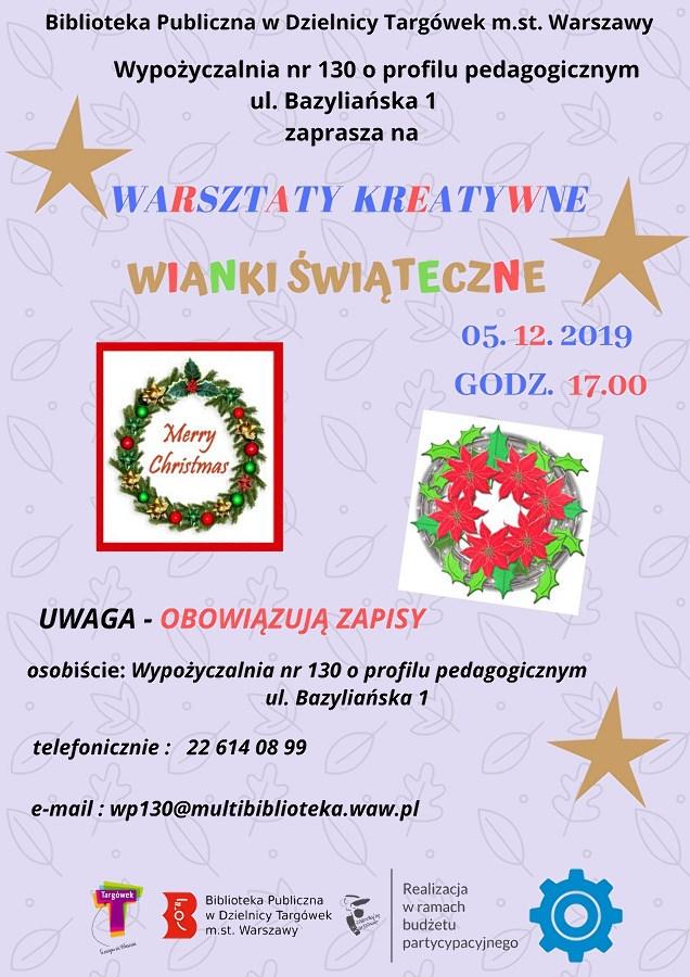 """""""Wianki świąteczne"""" - warsztaty kreatywne w WP130"""