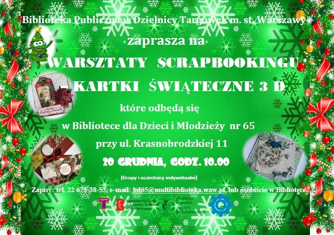 Biblioteka Publiczna w Dzielnicy Targówek m.st. Warszawy zaprasza na Warsztaty scrapbookingu – Kartki świąteczne 3D