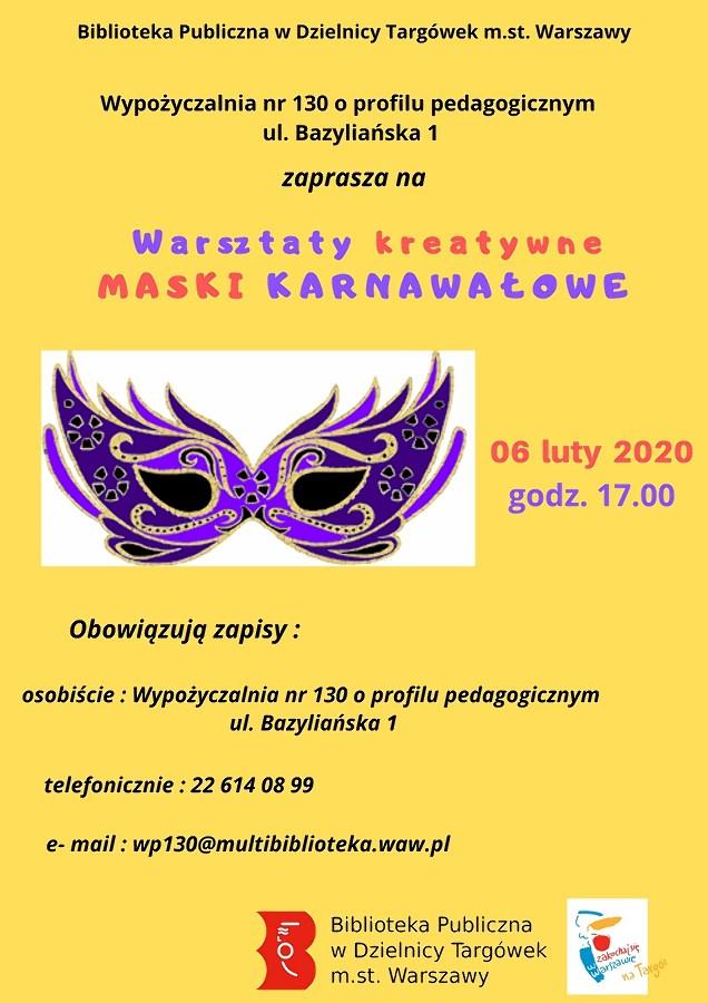 Warsztaty kreatywne - Maski karnawałowe