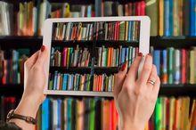 Na zdjęciu półka z książkami