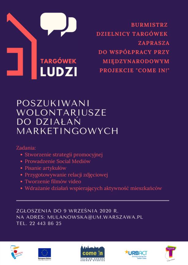 """Plakat Festiwal """"Targówek Ludzi""""- zaproszenie dla wolontariuszy"""
