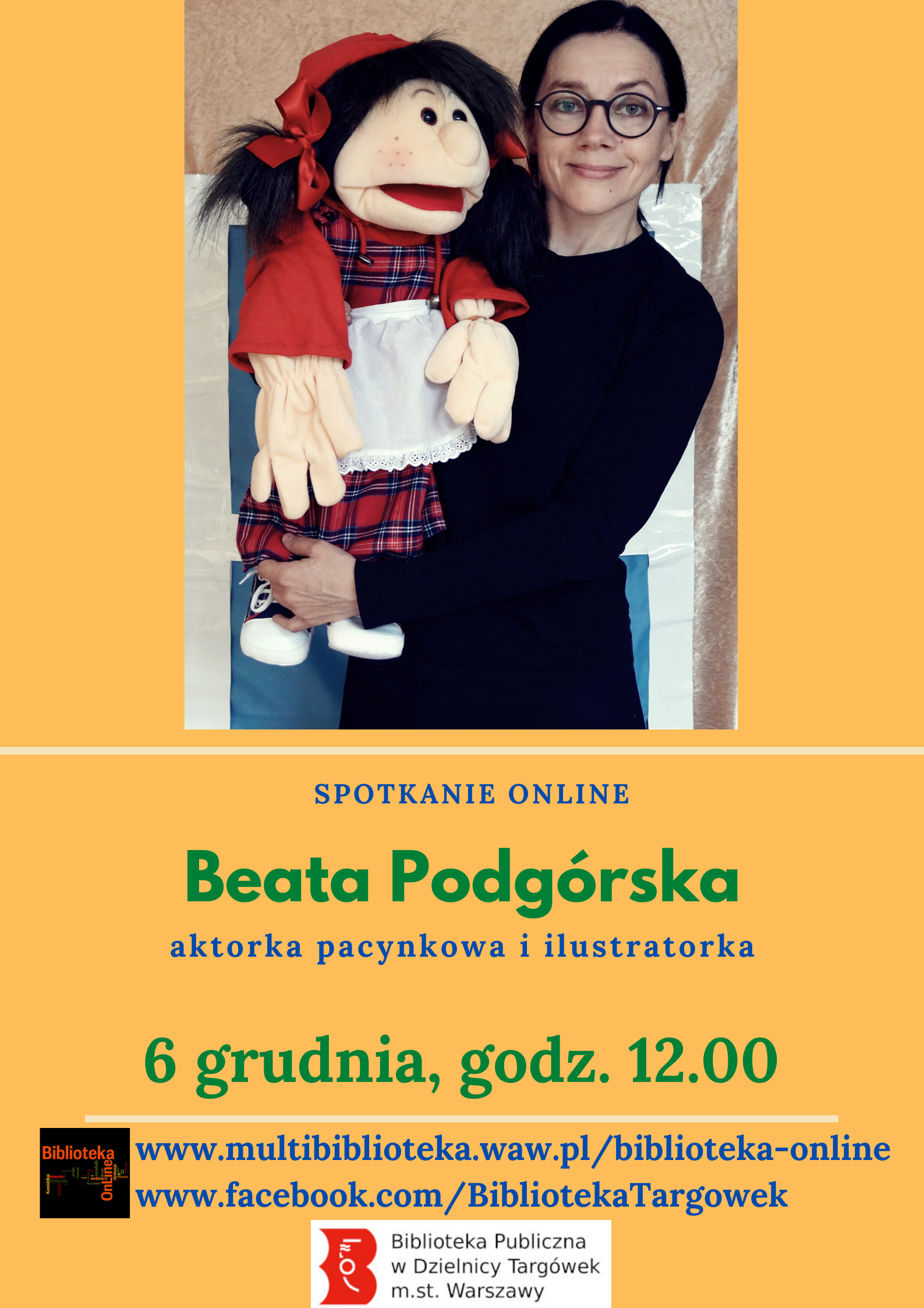 plakat - spotkanie online z Beatą Podgórską