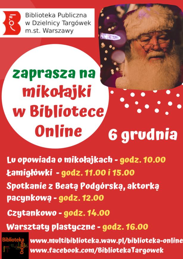 plakat - mikołajki w bibliotece online