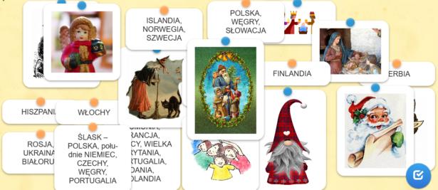 quiz z Mikołajem - połącz obrazek z nazwą kraju