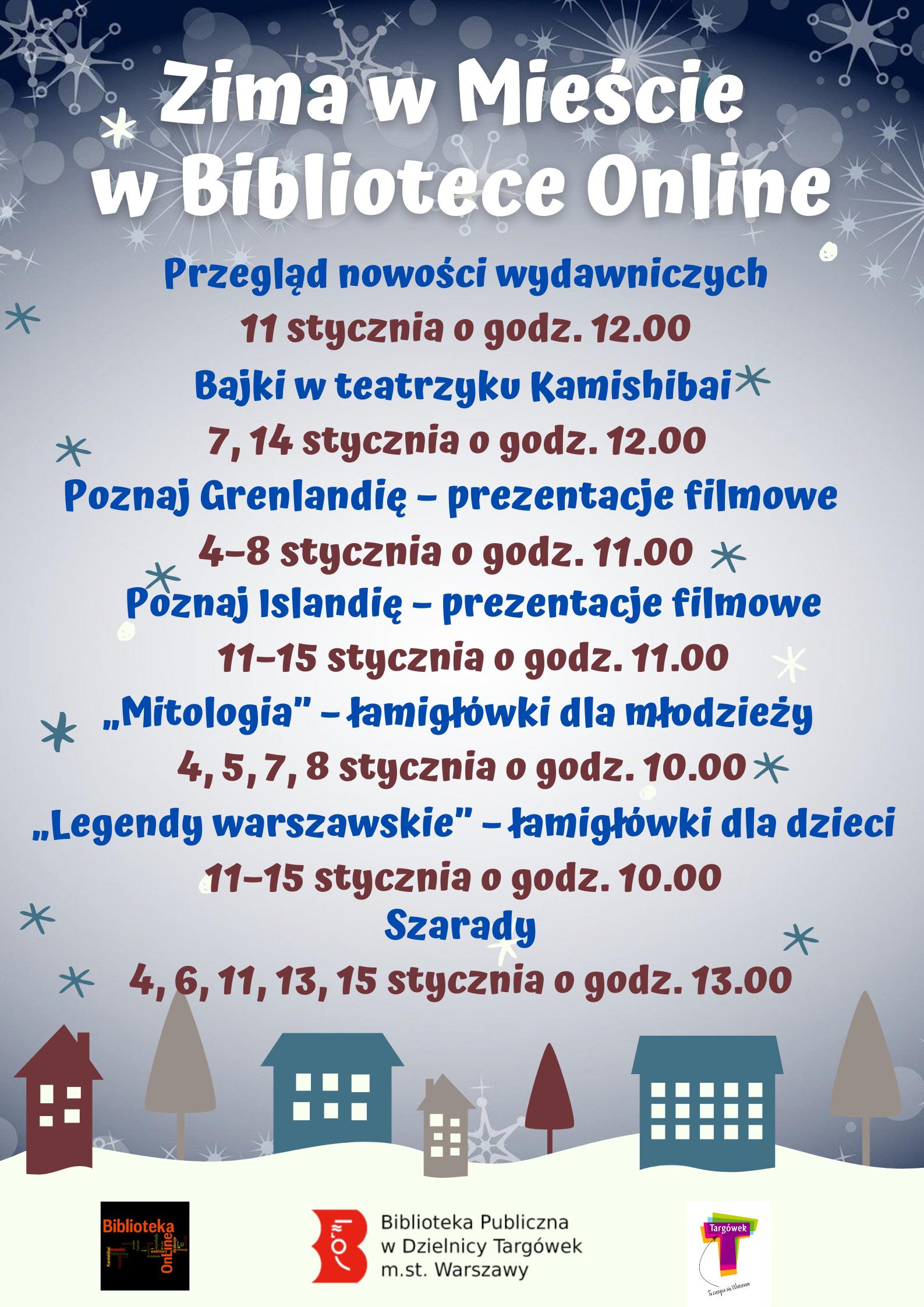 zima w mieście w bibliotece online - plakat