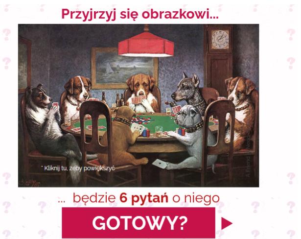 na obrazku siedzą na krzesłach psy dookoła stołu; grają w karty
