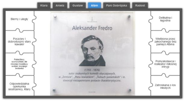 obraz przedstawiający wizerunek Aleksandra Fredry; u góry imiona postaci z utworu; po bokach ich opisy do połączenia z postaciami