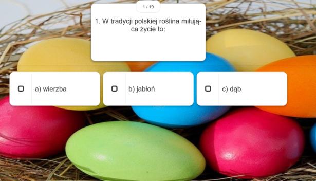 quiz; pytanie i 3 możliwe odpowiedzi; w tle kolorowe jajka wielkanocne