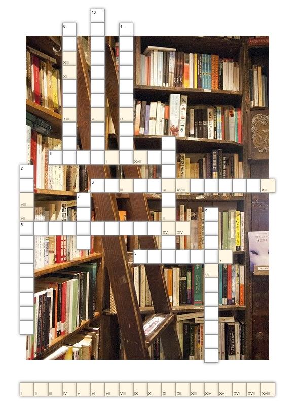 """krzyżówka na podstawie książki Carlosa Ruiza Zafona """"Więzień nieba""""; w tle krzyżówki zdjęcie przedstawiające regały z książkami i drewnianą drabinę"""