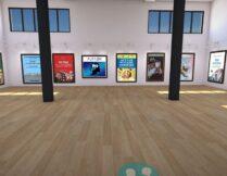 wirtualna sala; na ścianach rolę obrazów pełnią okładki książek o autyzmie; w górnej części sali są okna