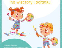 na okładce e-booka są dzieci (dziewczynka i chłopiec) ochlapane kolorową farbą, trzymające w dłoniach pędzle i palety malarskie