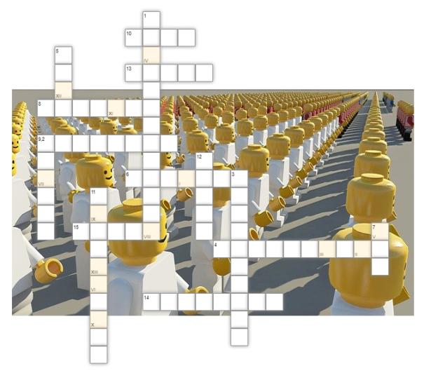 krzyżówka; w tle obrazek przedstawiający ustawione w rzędach, stojące blisko siebie wiele ludzików lego symbolizujących ludzi