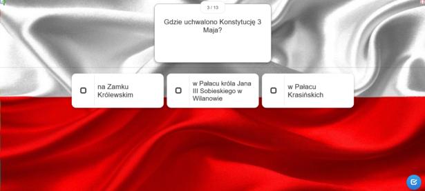pytanie i 3 możliwe odpowiedzi; w tle flaga Polski