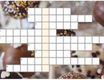 krzyżówka; w tle zdjęcie z różnymi czekoladkami