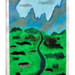 obraz przedstawia góry i zieleń, pośrodku której płynie rzeka
