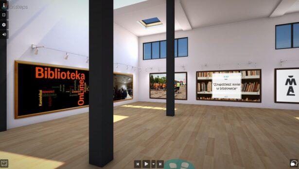 wirtualna wystawa; na ścianach plakaty i informacje o kulturalno-edukacyjnej działalności Biblioteki