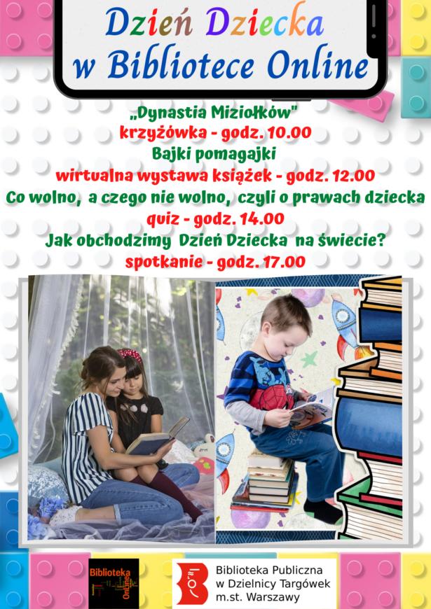 Na plakacie dzieci czytające książki. Plakat informuje o wydarzeniach, które odbędą się 1 czerwca w godz. 10.00-17.00 w Bibliotece Online z okazji Dnia Dziecka.