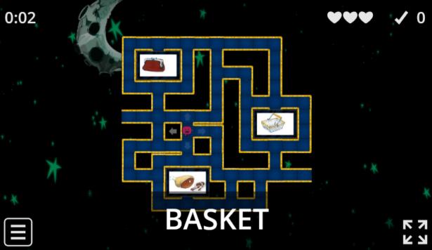 labirynt; na dole ekranu słowo po angielsku; zadanie gracza polega na przejście przez labirynt do jednego z trzech okienek, w któych jest obrazek ilustrujący dane słowo angielskie
