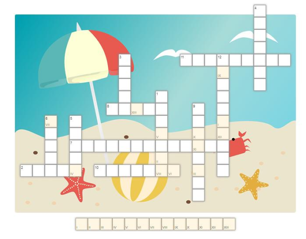 krzyżówka; w tle obrazek przedstawiający morze, plażę, piłkę plażową i parasolkę przeciwsłoneczną