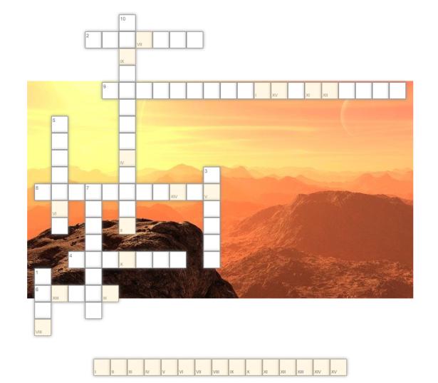 krzyżówka; w tle obrazek przedstawiający zachód słońca w górach