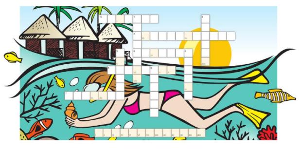 krzyżówka; obrazek w tle przedstawia dziewczynę nurkującą pod wodą, trzymającą muszlę; nad wodą słońce, bezchmurne niebo i palmy