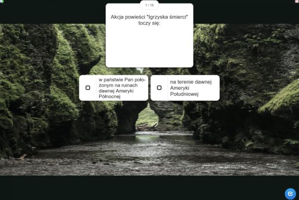 pytania i możliwości odpowiedzi; w tle obrazek przedstawiający wodę otoczoną gęstą zielenią