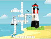 krzyżówka; w tle obrazek przedstawiający morze, plażę, piłkę plażową, latarnię morską i statek