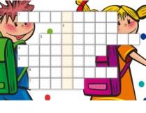 krzyżówka - w tle obrazek przedstawiający chłopca i dziewczynkę z tornistrami; dziewczynka trzyma ołówek; wokół nich na białym tle kolorowe kropki
